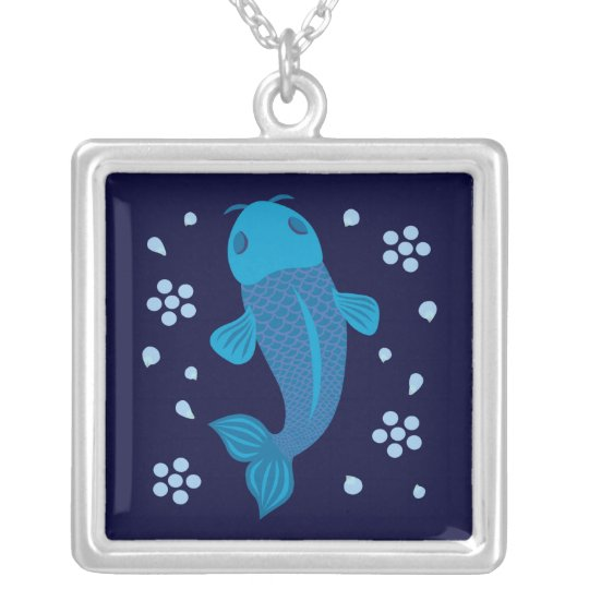 Blue Koi Fish Silver Plated Necklace
