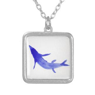Blue Koi Fish Square Pendant Necklace