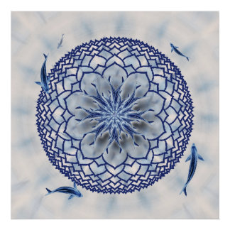 Blue Koi Lotus Mandala Poster