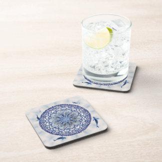 Blue Koi Lotus Mandala Square Cork Coasters