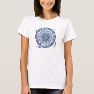 Blue Koi Lotus Mandala T-Shirt
