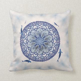 Blue Koi Lotus Mandala Throw Pillow