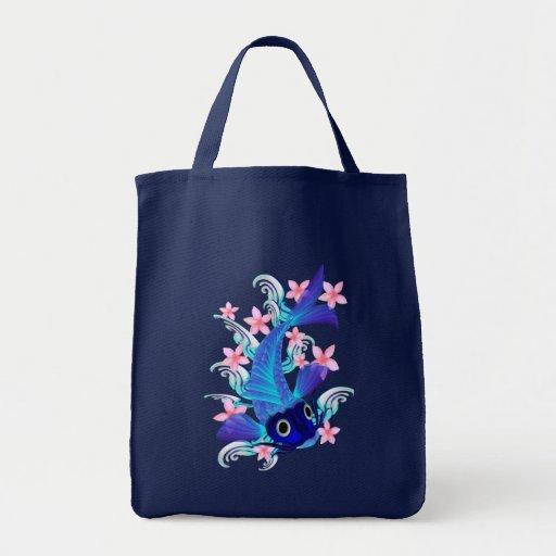 Blue Koi-Pink Flowers Bags Grocery Tote Bag