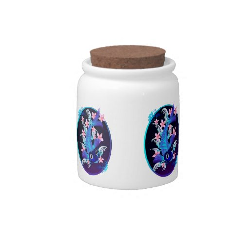 Blue Koi-Pink Flowers Candy Jar