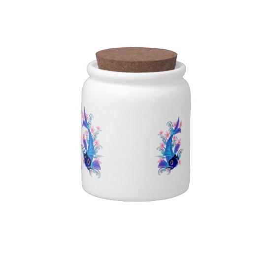 Blue Koi-Pink Flowers Candy Jar