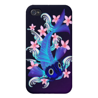Blue Koi-Pink Flowers //  Cover For iPhone 4