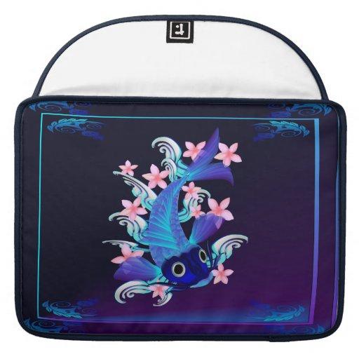 Blue Koi-Pink Flowers MacBook Pro Sleeves