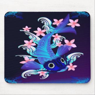 Blue Koi-Pink Flowers Mousepad