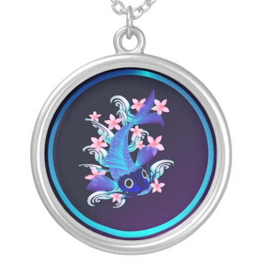 Blue Koi-Pink Flowers Necklace