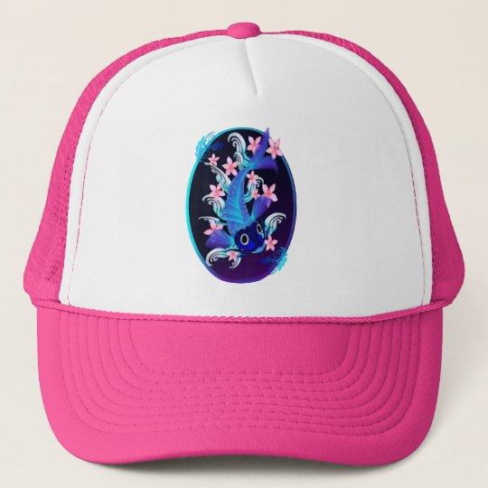 Blue Koi-Pink Flowers Oval Hats