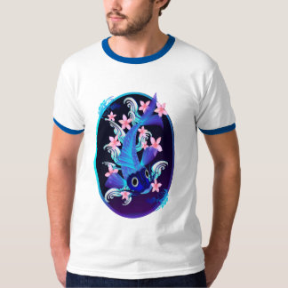 Blue Koi-Pink Flowers Oval Shirts