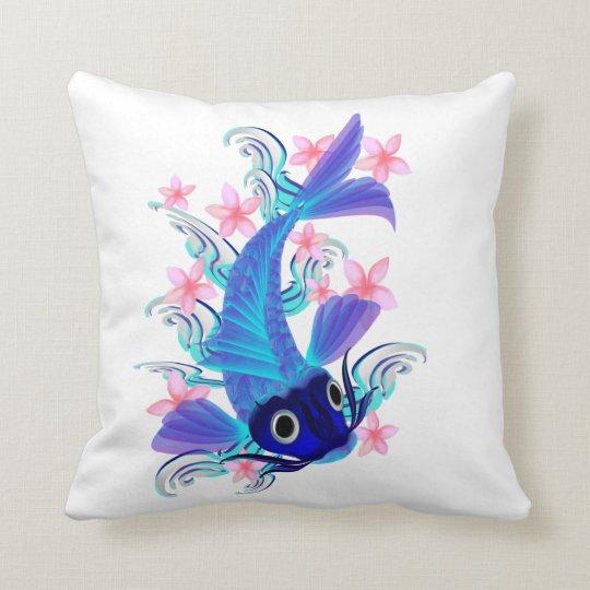 Blue Koi-Pink Flowers Pillows