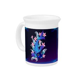 Blue Koi-Pink Flowers Pittchers Drink Pitcher
