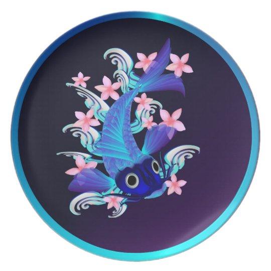 Blue Koi-Pink Flowers Plates