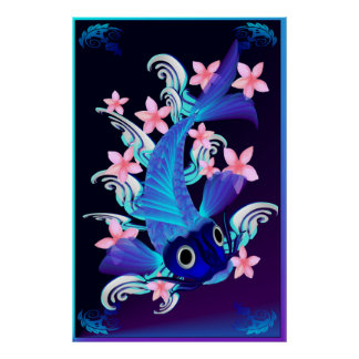 Blue Koi-Pink Flowers Posters