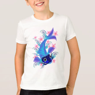 Blue Koi-Pink Flowers Shirts