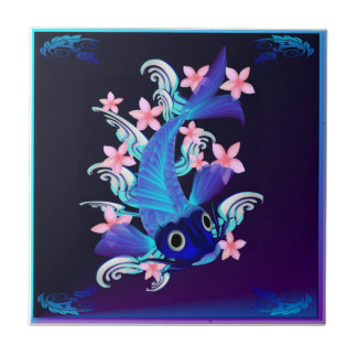 Blue Koi-Pink Flowers Tiles