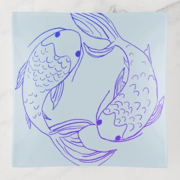 Beach Themed Blue Koi Pisces Illustration Trinket Trays
