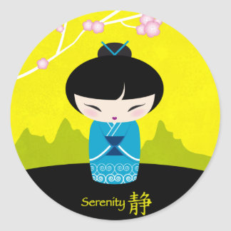 Blue kokeshi sticker