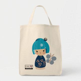 Blue Kokeshi Triplet Grocery Tote Bag