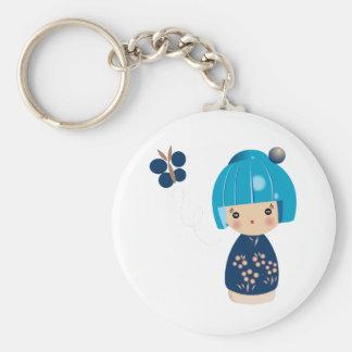 Blue Kokeshi Triplet Keychain