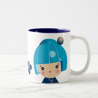 Blue Kokeshi Triplet Mug