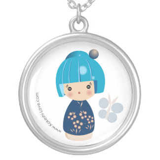 Blue Kokeshi Triplet Necklace