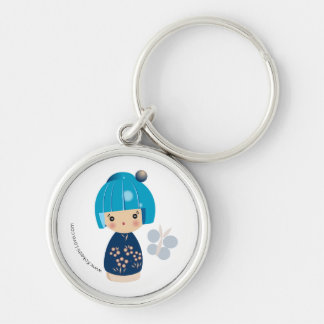 Blue Kokeshi Triplet Premium Keychain
