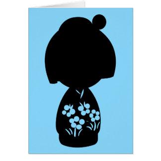 Blue Kokeshi Triplet Silhouette Note Card