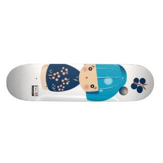 Blue Kokeshi Triplet Skateboard