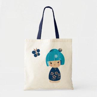 Blue Kokeshi Triplet Tote Bags