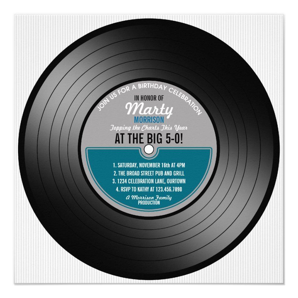 Blue Label Vinyl Record 50th Birthday Party Invitation