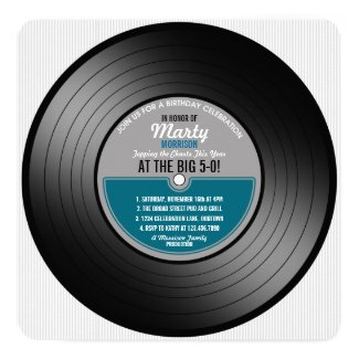 Blue Label Vinyl Record 50th Birthday Party Invitation