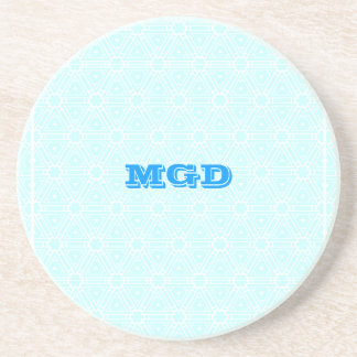 Blue lace all over pattern monogram coaster