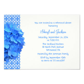 Blue Lace and Hydrangeas Rehearsal Dinner Card