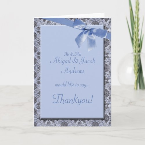Blue Lace and Ribbon Wedding - Engagement Thankyou card