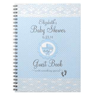 Blue Lace-Baby Shower Guest Book Notebook