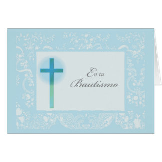 Blue Lace Baptism for Boy, Spanish Card