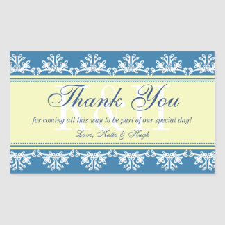 Blue lace border thank you out of town gift bag rectangular sticker