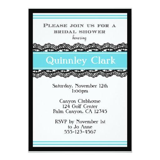 Blue Lace Bridal Shower Invitation