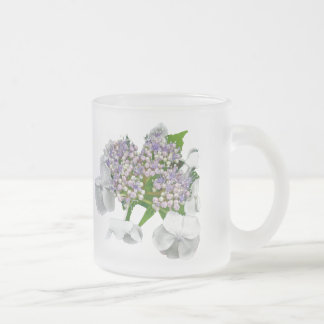 Blue Lace Cap Hydrangea Frosted Glass Coffee Mug