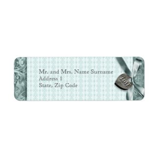 Blue lace country locket champagne return address label