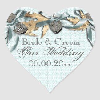 Blue lace country locket wedding heart stickers