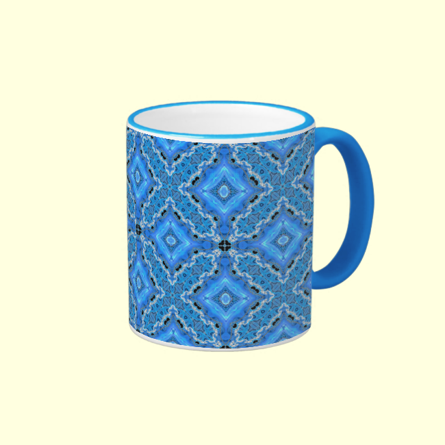 Blue Lace, Crosses, Diamonds Quilt Coffee Mugs