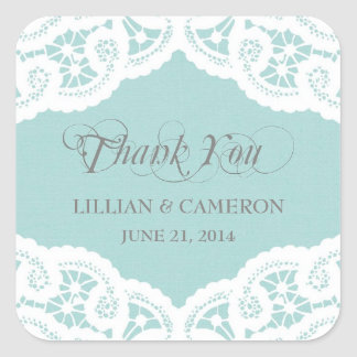 Blue Lace Doily Thank You Name Stickers