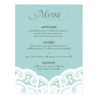 Blue Lace Doily Wedding Menu Postcard