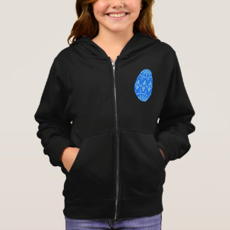 Blue Lace Easter Egg Girls Hoodie