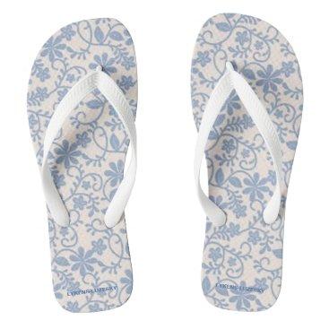 Beach Themed Blue Lace Flip Flops