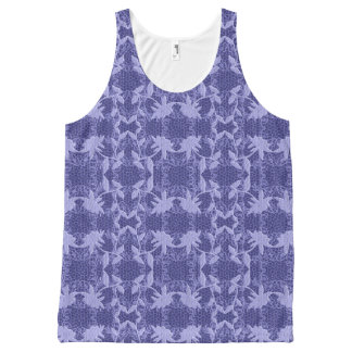Blue Lace Floral Pattern Tank Top All-Over Print Tank Top