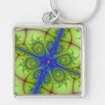 blue lace fractal art keychain